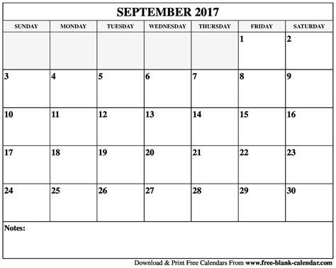 Calendar September 2017 Blank Blank 2017 And 2018 Calendar Printable
