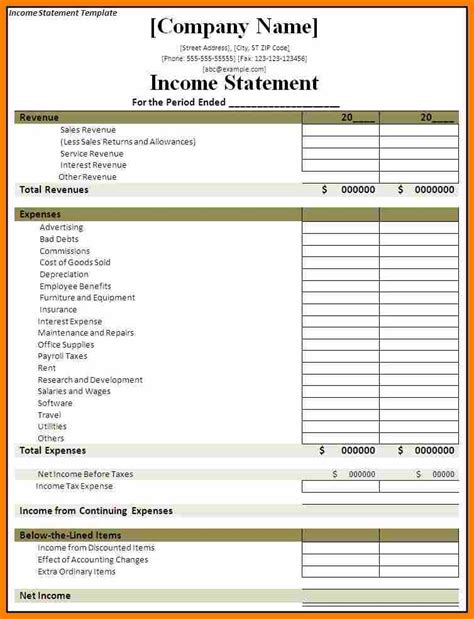 basic income statement template doc 457590 profit and loss statement simple basic