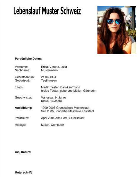 Lebenslauf Vorlage Schweiz Lebenslauf Muster Schweiz Dokument Blogs