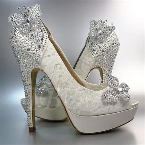 beading butterfly high heel peep toe wedding shoes