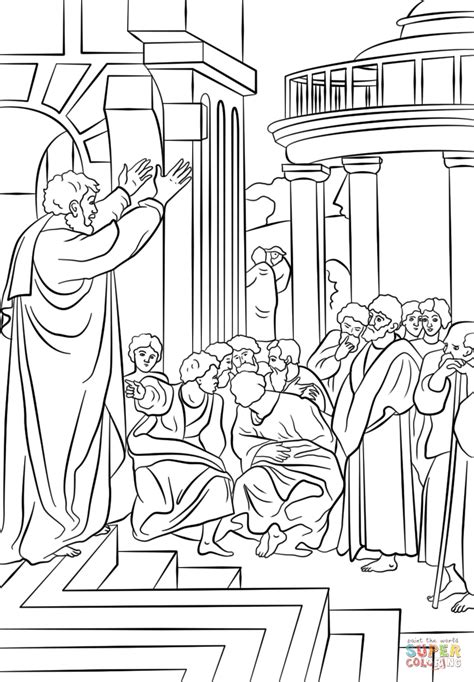 paul preaching in athens coloring page free printable