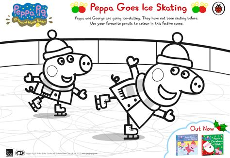 peppa pig winter coloring pages peppa pig goes ice skating free colouring download