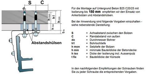 Markisen Montage Decke markisenmontage an w 228 rme isolierte betondecke