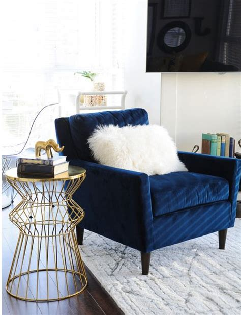 Navy Blue Living Room Chair Can T Get Enough Of This Navy Velvet Chair Especially When Paired With All This White And Gold