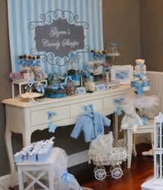 blue and gray striped baby boy baby shower by