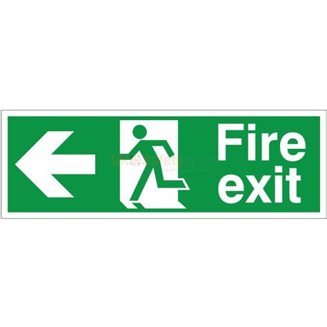 Glow In The Dark Wall Sticker fire exit arrow left sign fire safety signs safety