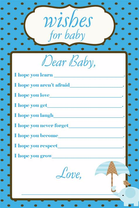 baby shower wish cards template printable wishes for baby baby shower