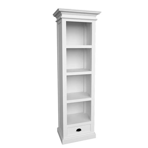 Nova White Painted Furniture Tall Narrow Storage Bookcase White Slim Bookcase