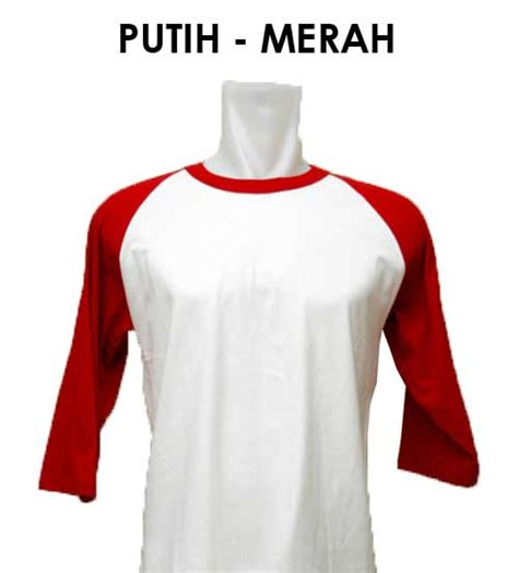 Kaos Hello Lengan Panjang Merah Putih warna dan ukuran kaos rumahsabloncepat