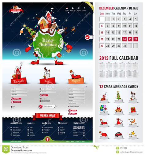 christmas themes websites five components website template for christmas stock