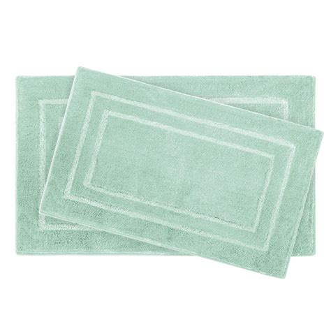 double bathroom rugs laura pearl double border sea foam 2 piece bath mat