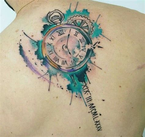 watercolour stopwatch tattoo tattoo inspiration