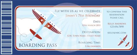 boarding pass airplanes invitation diy printable party