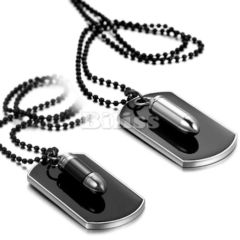 mens tag necklace fashion jewelry army style bullet tag pendant mens necklace black silver color