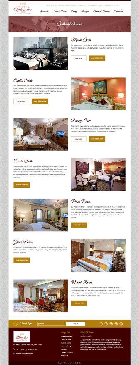 house web design house of splendor website design for a boutique hotel spa web