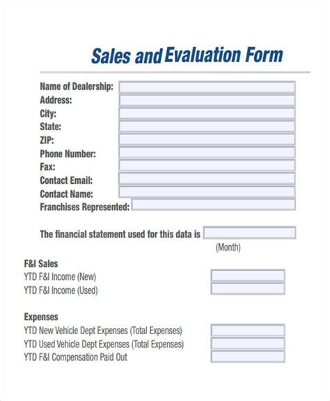 Sle Manager Evaluation Letter 8 Sales Evaluation Form Sles Free Sle Exle Format