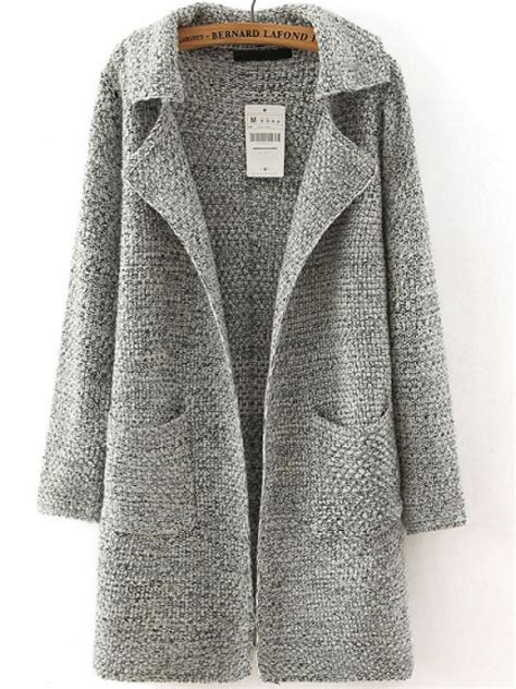 Jaket Grey Style Longsleeve grey lapel sleeve pockets sweater coat shein abaday