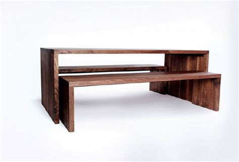 nesting dining table and benches