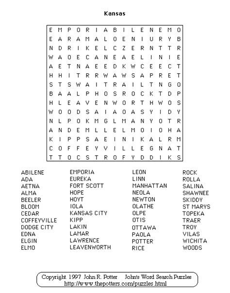 Kansas Search Kansas Wordsearch