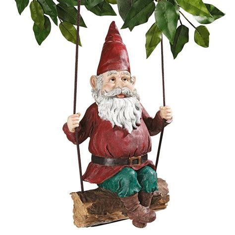 swinging gnome shop design toscano sammy the swinging gnome 15 in garden