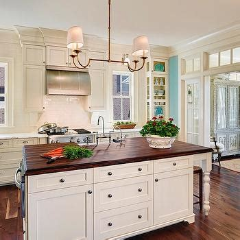 White Cabinets Wood Countertops by Kitchen Island Design Ideas