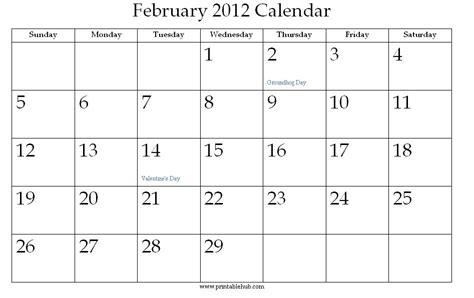 February 2012 Calendar February 2012 Printable Calendar 171 Printable Hub