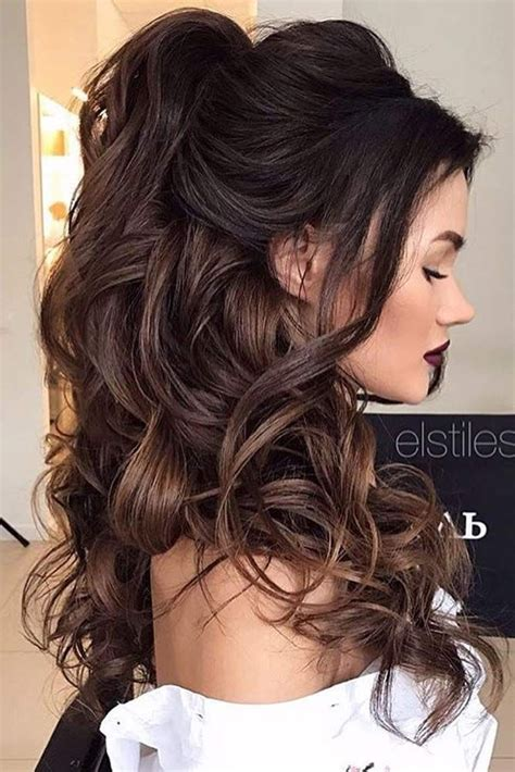 Brunette Up Hairstyles | chic half up bridesmaid hairstyles for long hair