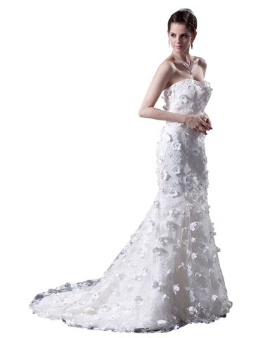 Wedding Dress Flo white strapless tulle wedding dress with lace applique and