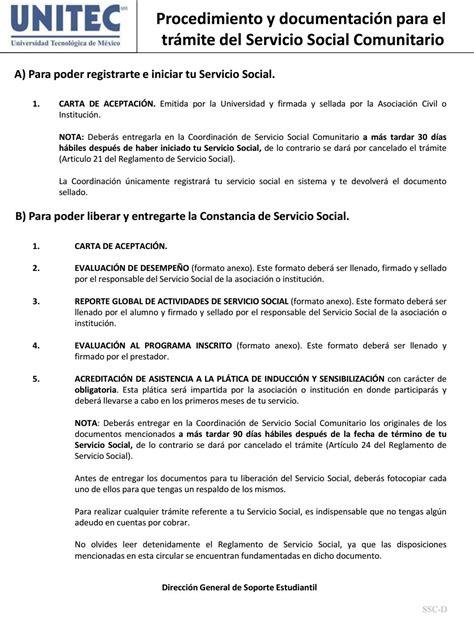 formato de carta de aceptacion de servicio comunitario procedimiento y documentaci 243 n para el servicio social comunitario by universidad tecnol 243 gica de