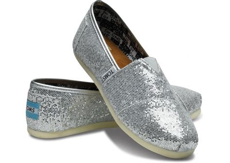 toms youth glitter shoes silver shoes boots