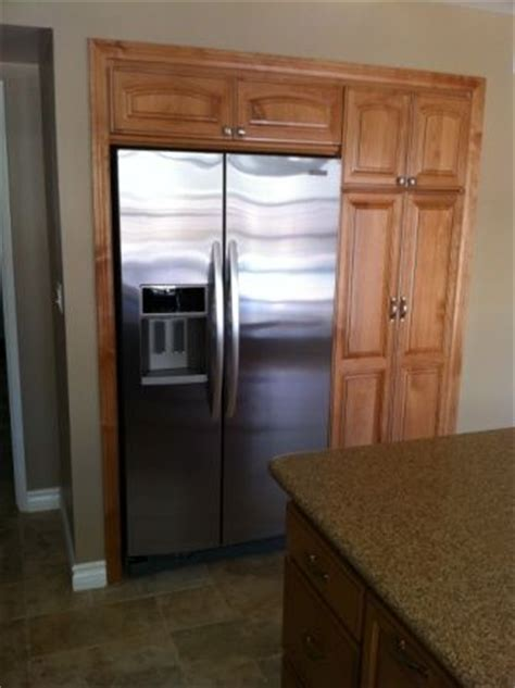 wall recessed fridge kitchen design small pantry