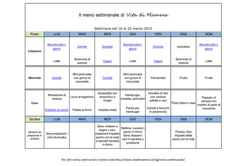alimentazione corretta menu settimanale vitadimamma menu settimanale in pdf da stare per la