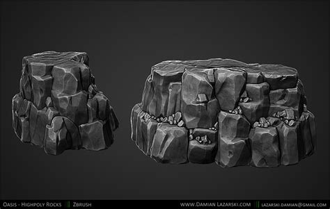 tutorial zbrush rock portfolio of damian lazarski normal prop pinterest