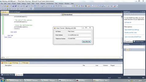 visual basic xml tutorial working with xml files part 1 writing to xml visual basic
