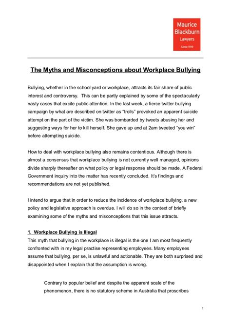 myths misconceptions workplace bullying josh