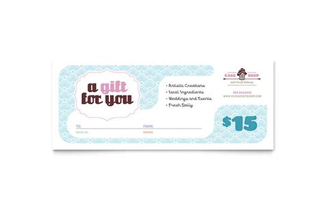 gift certificate template publisher bakery cupcake shop gift certificate template word