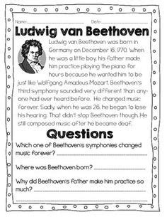 beethoven biography and worksheet antonio vivaldi free printable biography
