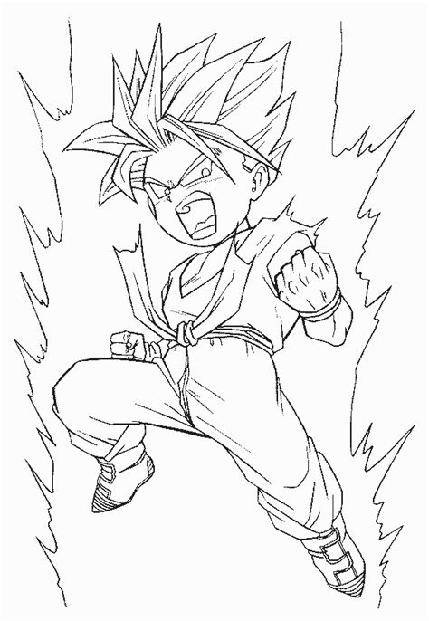 free coloring pages of trunks and goku gohan