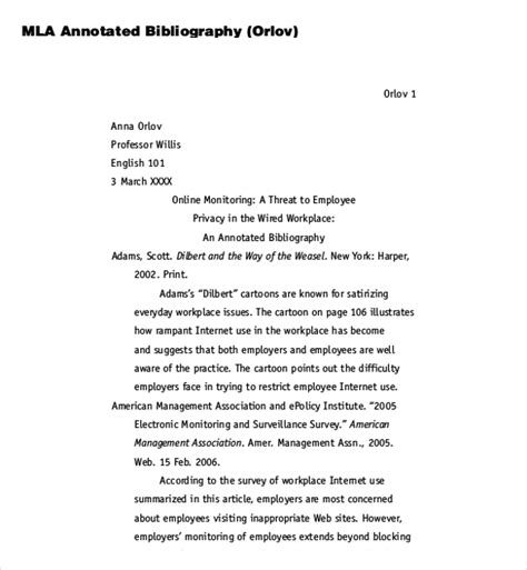 Annotated Bibliography Template Mla by 8 Blank Annotated Bibliography Templates Free Sle