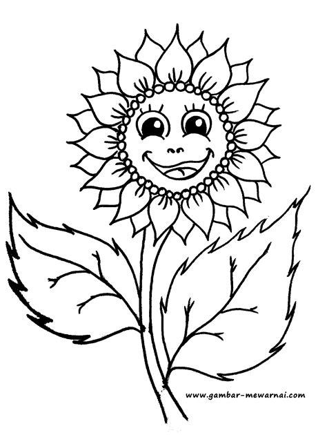 bunga matahari lucu contoh gambar mewarnai