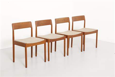 set of 4 dining chairs in teak by norgaard