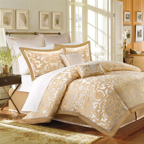 beautiful elegant luxury 8 pc gold beige ivory comforter