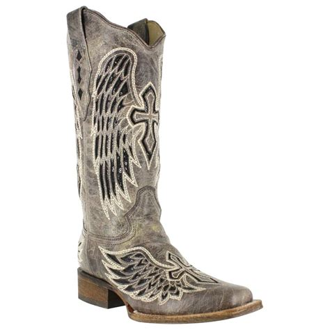 boots with crosses corral s cross and wing sequin inlay square toe