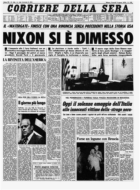 Watergate, Nixon si è dimesso: la storica prima pagina del