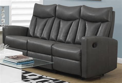 Charcoal Gray Leather Sofa 87gy 3 Charcoal Grey Bonded Leather Reclining Sofa 87gy 3 Monarch