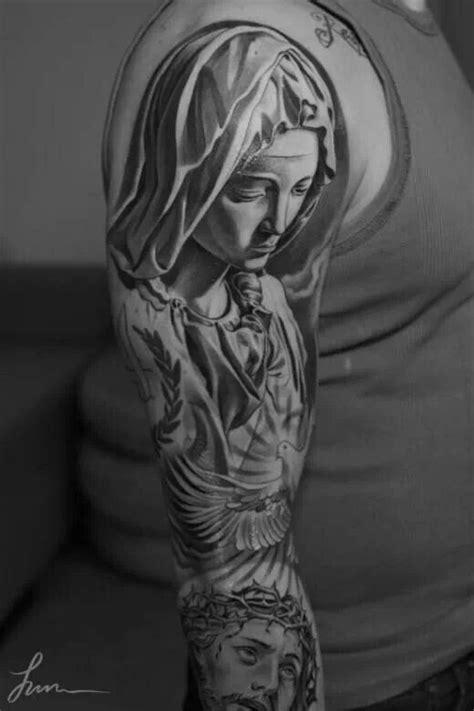 Tattoo Mary Jesus | religious mary and jesus tattoo black grey art tattoos