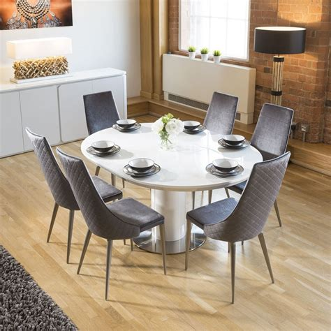 Extending Round Oval Dining Set White Gloss Table 6 Grey Oval Dining Table Set For 6