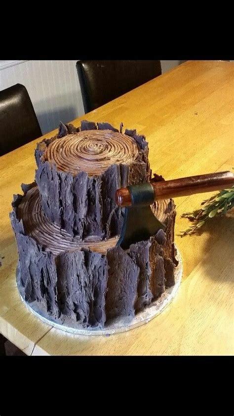 tier tree stumplog cake perfect   lumberjack party fondant ax tree bark detail
