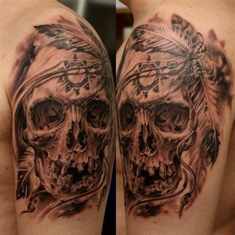 realistic skull with native american symbols tattoo on