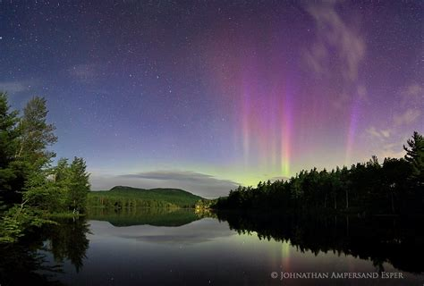 Northen Light by Newberry Pond Aurora Borealis Moonlight